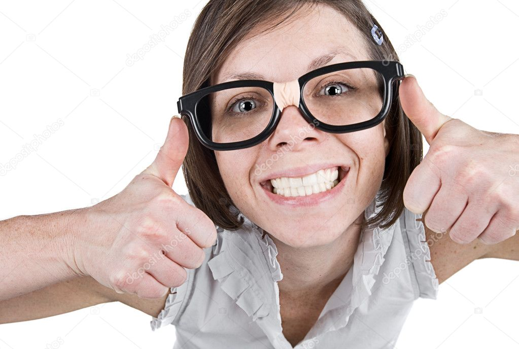 Shot of a Geeky Female with Double Thumbs Up  Foto de Stock   #2363677