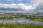 Dnieper River and boat station. — Stock Photo