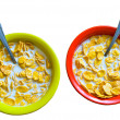 Stock Photo: Plates with corn flakes.