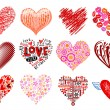 Set of 12 vector hearts. — Stockvectorbeeld