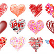 Set of 12 vector hearts. - Stockvectorbeeld