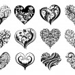 12 Tattoo hearts — Stock Vector