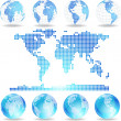 Vector dotted map and Globes - Stock Vector