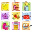 Icons Meal and ware — Stock Vector
