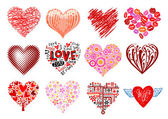 Set of 12 vector hearts. — Vettoriale Stock