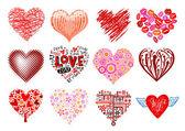 Uppsättning av 12 vector hearts. — Stockvektor