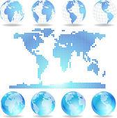 矢量虚线的地图和地球仪 — 图库矢量图片