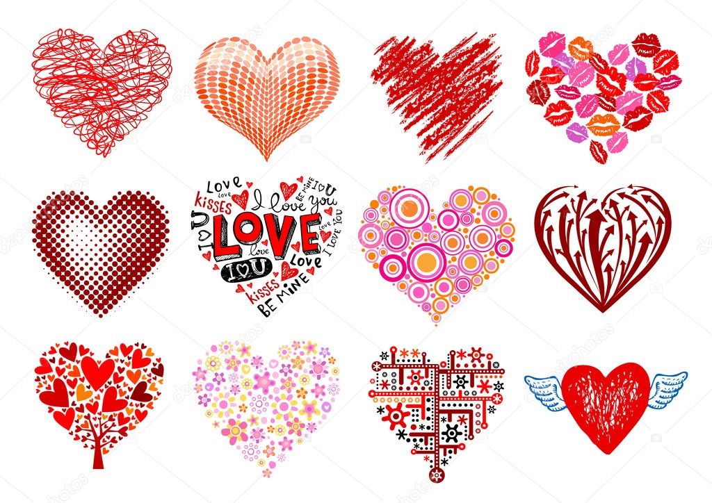 Set of 12 vector hearts, different styles. — Stock Vector #2257905
