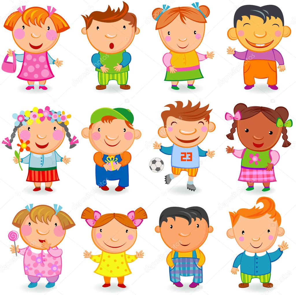 Group of 12  kids different nations. Vector image. — Stock Vector #2257938