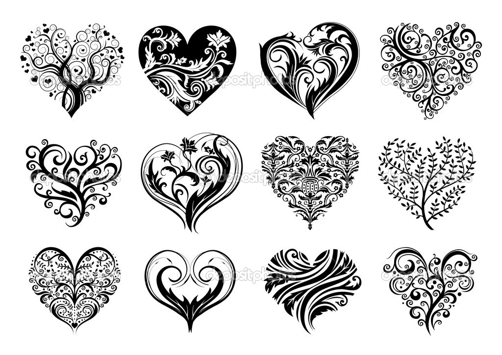 Set of 12 tattoo hearts, vector image.  Stock Vector #2257956