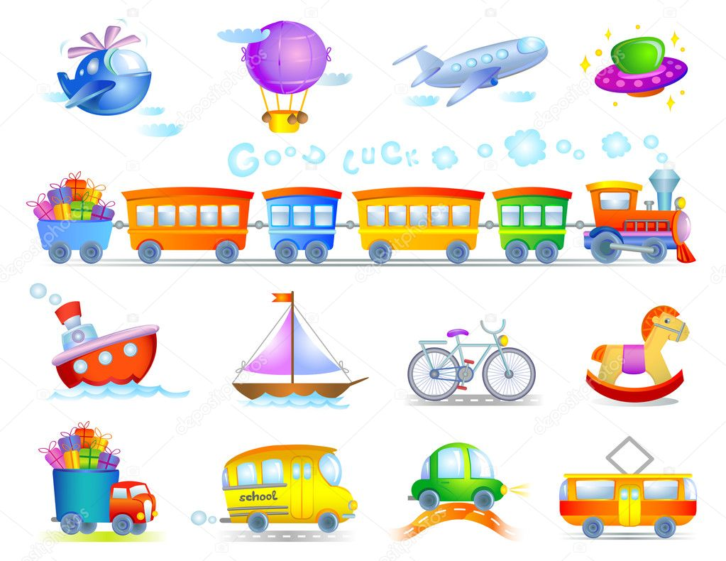 Collection of symbolical types of transport created in toy style — Imagens vectoriais em stock #2257958