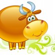 Ox on a field — Stock Vector