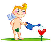 Cupid watering a flower. — Stockvector