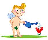Cupido regar una flor. — Vector de stock
