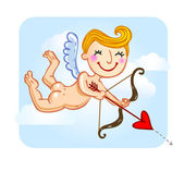 Cupid with bow and arrow. — Vector de stock