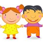 Kids holding hands. — Stock Vector
