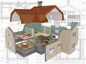 3d izometrycznym ciętych dom mieszkalny na architekta rysunek. — Zdjęcie stockowe