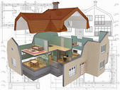 3D isometric view the cut residential house on architect drawing. — Stockfoto