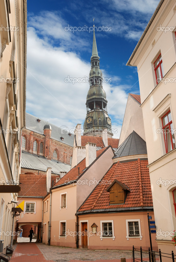 Picturesque court yard in an old city Riga, Latvia.  Stock Photo #2366718