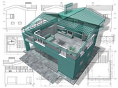 Section of residential house on architect drawing. — ストック写真