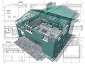 Seção de casa residencial em desenho de arquiteto. — Foto Stock