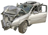 A wrecked passenger car on a white background. — Stock Photo