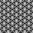 Vector seamless texture, skull in black - Stock Vector