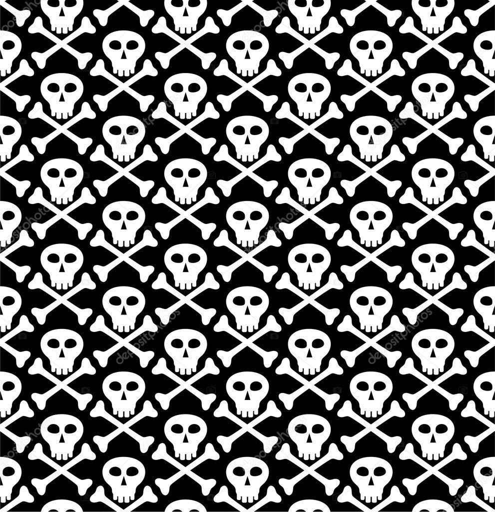 Vector seamless texture, skull in black — Stock Vector #2216468