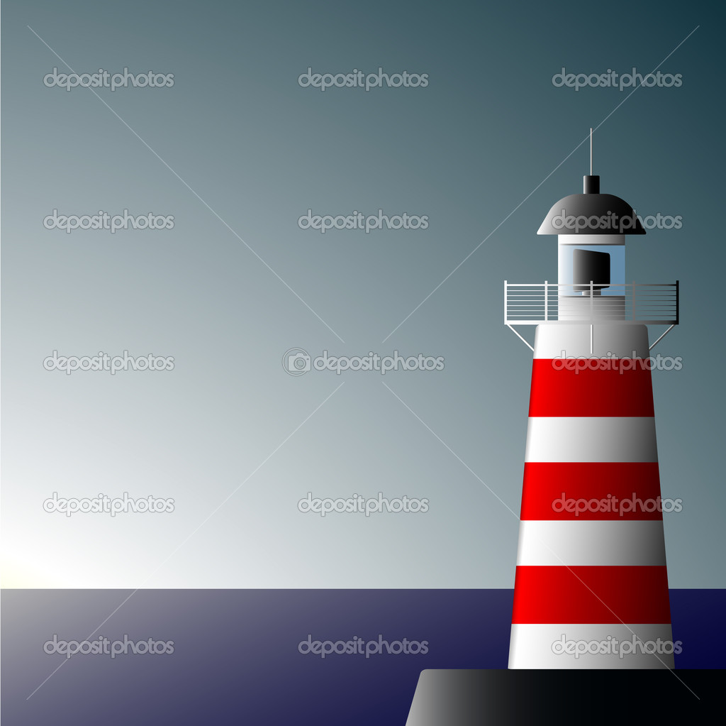 Lonely beacon on seacoast on a decline of day  Stock Vector #2220243