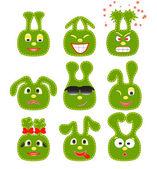 9 緑色のスマイリーのセット — ストックベクタ
