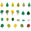 Royalty-Free Stock Vector: Set of autumn trees and bushes
