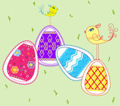 Easter eggs and small birds — Stock Vector