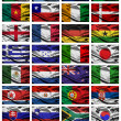 2010 world cup fabric flags - Stock Photo