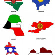 Royalty-Free Stock Photo: World flag map stylized sketches 17