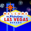 Las Vegas sign at night - Stock Photo