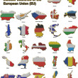 Stock Photo: EU countries metal pin badges
