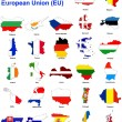 Stock Photo: EU countries flag maps