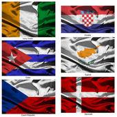 Colección de banderas de tela mundo 10 — Foto de Stock
