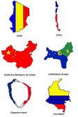 World flag map stylized sketches 07 — Stock Photo