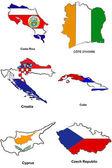 Stilize çizimler 08 dünya bayrak harita — Stok fotoğraf