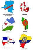 World flag map stylized sketches 09 — Stock Photo