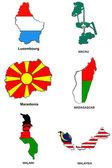 World flag map stylized sketches 19 — Stock Photo