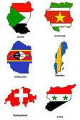 World flag map stylized sketches 31 — Stock Photo