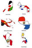 World flag map stylized sketches 25 — Stock Photo