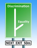 Discrimination eqaulity roadsign — Stock Photo
