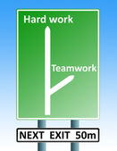 Hard work teamwork roadsign — Stock Photo