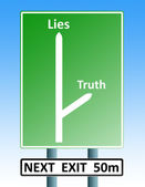 Truth lies roadsign — Stock Photo