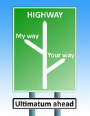 Ultimatum roadsign — Stock Photo