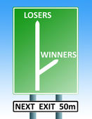 Winners losers roadsign — Stock Photo