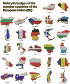 EU countries metal pin badges — Stock Photo